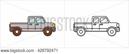 Pickup Coloring Page For Kids Pickup Car Side View