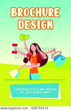 Mom Practicing Multitasking. Woman Holding Baby, Carrying Shopping Bags, Lifting Weight Flat Vector
