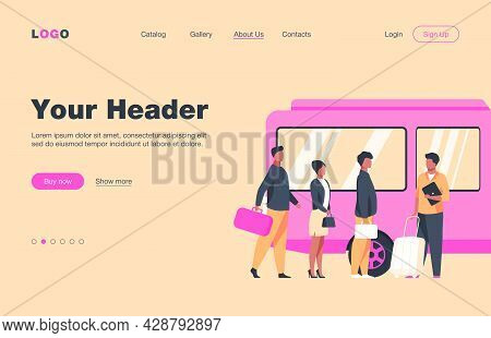 Passengers Waiting For Bus In City. Queue, Town, Road Flat Vector Illustration. Public Transport And
