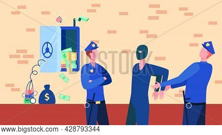 Police Officers Arresting Bank Safe Robber Man. Policemen Catching Thief Flat Vector Illustration. S