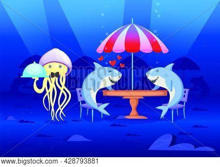 Sea Inhabitants In Restaurant At Bottom Of Sea. Cartoon Vector Illustration. Two Sharks In Love On D