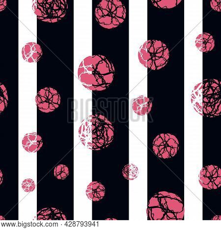Marble Effect Circles Vector Striped Seamless Pattern Background. Backdrop With Pink Marbling Stenci