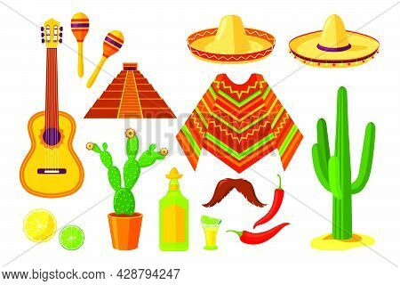 Set Of Cartoon Mexican Traditional Symbols. Flat Vector Illustration. Colorful Collection Of Cacti,