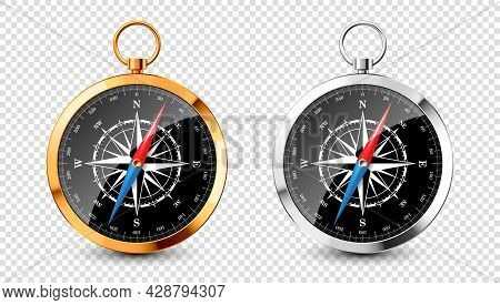 Realistic Silver, Golden Vintage Compass With Marine Wind Rose And Cardinal Directions Of North, Eas