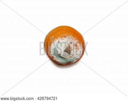 One Rotten, Half Decomposed, Covered With Green White Mold, A Limp Fruit On A White Background. The