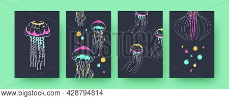 Set Of Contemporary Art Posters With Jellyfish. Medusas And Tentacles Vector Illustrations In Pastel