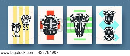 Set Of Contemporary Art Posters With Ritual Masks. Vector Illustration. .collection Of African Triba