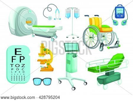 Set Of Hospital Medical Equipment And Devices Vector Cartoon. Tomograph, Scanner, X-ray, Mri, Fluoro