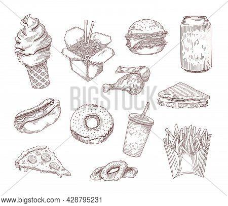 Set Of Popular American Dishes Hand Drawn Vector Illustration. Engraved Vintage Fast Or Street Food
