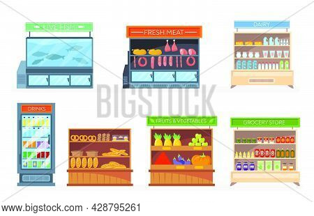 Set Of Racks And Refrigerators With Food. Cartoon Vector Illustration..grocery, Pastry, Dairy, Fish,