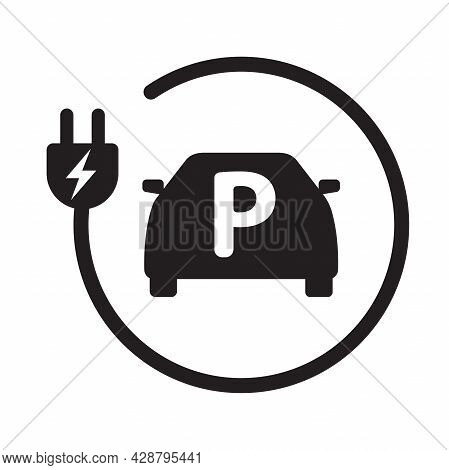 Ev Electric Car Park Charging Station Icon Vector Green Energy Concept For Graphic Design, Logo, Web
