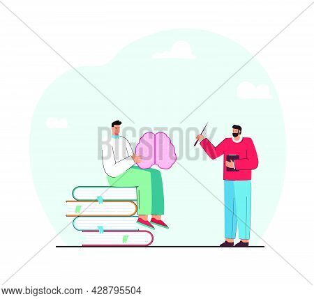 Student Sitting On Books, Studying Structure Of Brain At Lesson. Male Teacher With Pointer Explainin