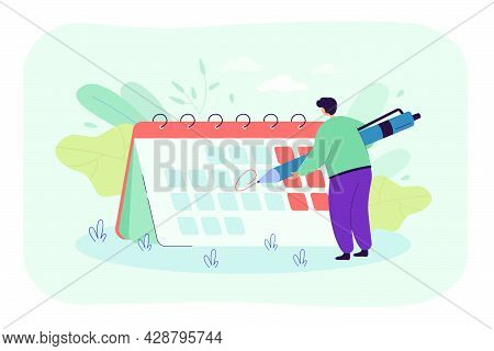 Tiny Man In Front Of Giant Calendar Cartoon Vector Illustration. Person Highlighting Specific Date O