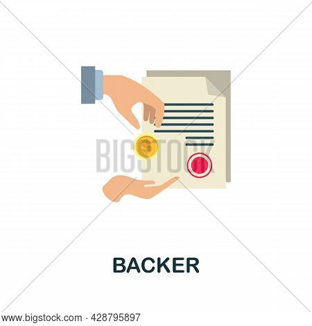 Backer Flat Icon. Simple Sign From Crowdfunding Collection. Creative Backer Icon Illustration For We