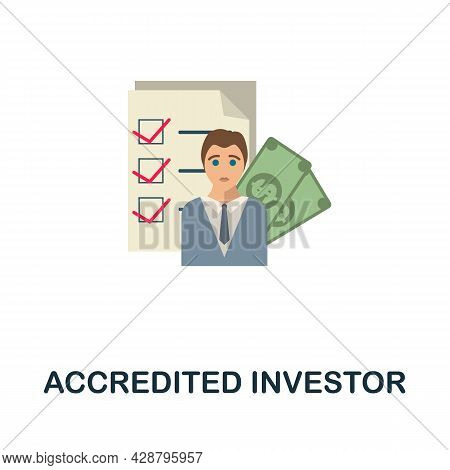 Accredited Investor Flat Icon. Simple Sign From Crowdfunding Collection. Creative Accredited Investo