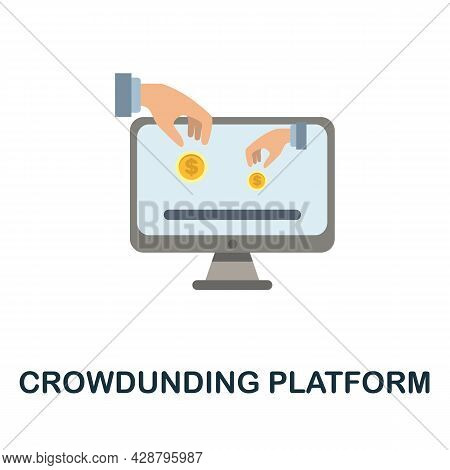 Crowdunding Platform Flat Icon. Simple Sign From Crowdfunding Collection. Creative Crowdunding Platf