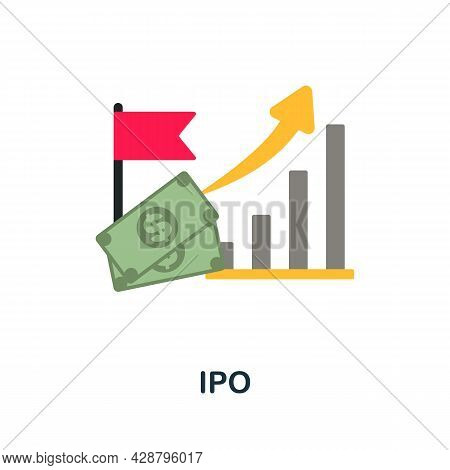 Ipo Flat Icon. Simple Sign From Crowdfunding Collection. Creative Ipo Icon Illustration For Web Desi