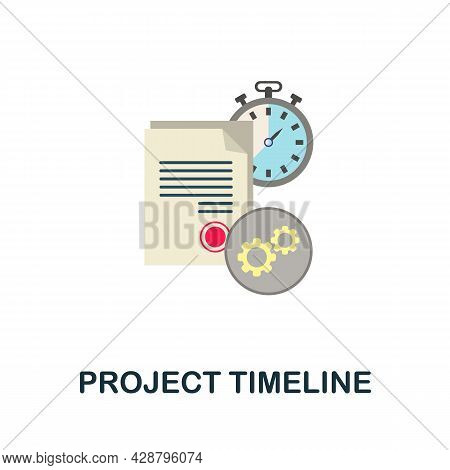Project Timeline Flat Icon. Simple Sign From Crowdfunding Collection. Creative Project Timeline Icon