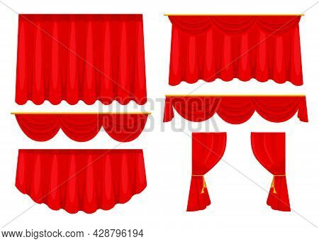 Trendy Red Curtains Flat Pictures Collection. Cartoon Fabric Drapery For Stage Background In Movie O