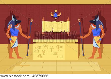 Two Anubis Deities With Ankh Walking Canes Next To Mummy Case. Cartoon Vector Illustration. Egyptian