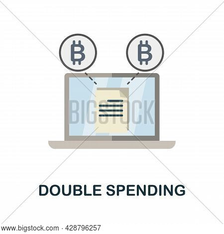 Double Spending Flat Icon. Colored Sign From Cryptocurrency Collection. Creative Double Spending Ico