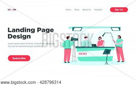 Two Journalists Sitting At Desk On Tv Studio Isolated Flat Vector Illustration. Cartoon Professional