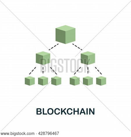 Blockchain Flat Icon. Colored Sign From Cryptocurrency Collection. Creative Blockchain Icon Illustra