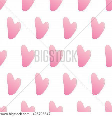 Pink Stone, Rose Quartz Gua Sha Beauty Tools Vector Seamless Pattern Background.