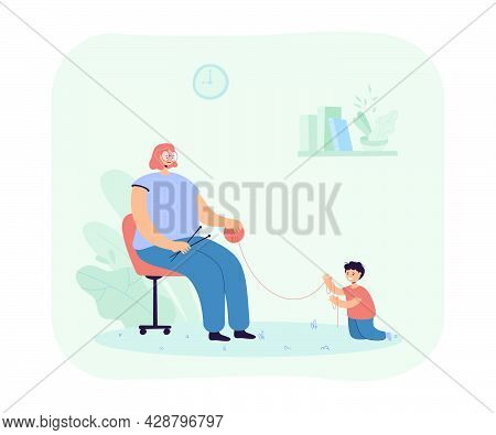 Woman Knitting Next To Her Little Son. Flat Vector Illustration..son Playing With Thread, While Moth