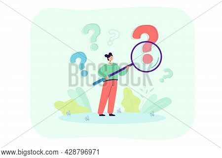 Woman With Magnifier Analyzing Question Marks. Curious Person Investigating Interrogation Point Flat