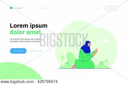 Woman With Covered Head Praying At Night. Flat Vector Illustration. Female Character Sitting On Her