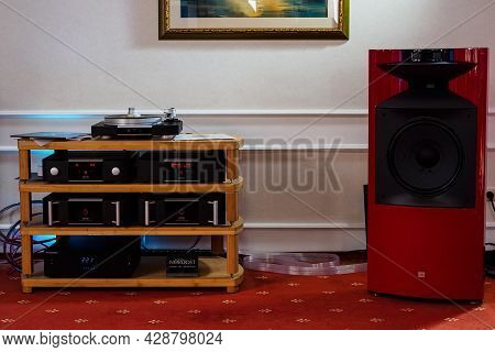 Moscow, Russia - May 23, 2021: Mark Levinson Audio System: Stereo Amplifier, Network Player, Turntab