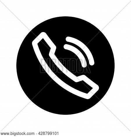 Phone Calls Icon. Accept Call Button. Telephone Receiver Symbol. Black Color Button With Handset Sil