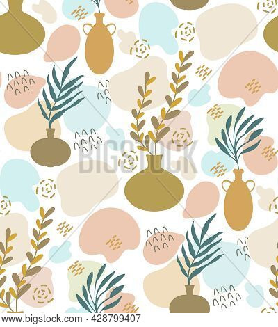 Cute Abstract Botanical Vector Seamless Pattern With Collage - Vase, Leaf Plant Branch Silhouette, I