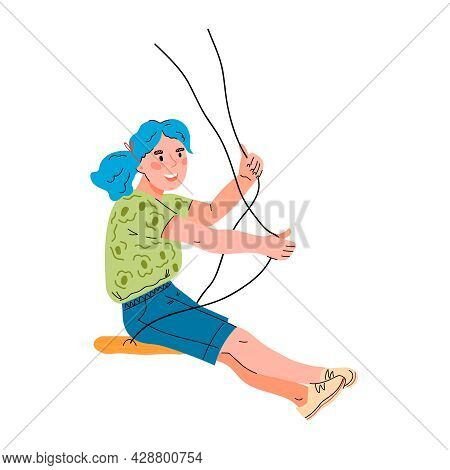 Happy Smiling And Cheerful Child Girl Riding On Swing. Swinging Kid On Rope Swings, Cartoon Vector I