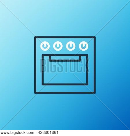 Line Oven Icon Isolated On Blue Background. Stove Gas Oven Sign. Colorful Outline Concept. Vector