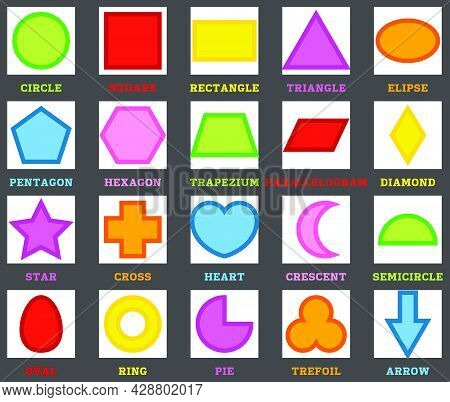 Shapes Set With English Names. Basic Geometric Figure, Collection. Education Worksheet For School Ch