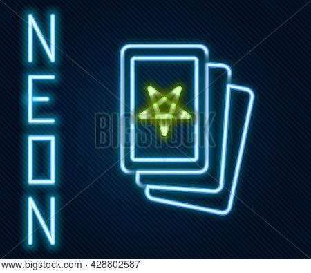 Glowing Neon Line Three Tarot Cards Icon Isolated On Black Background. Magic Occult Set Of Tarot Car