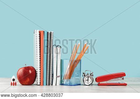 Assorted Office And School Orange And Blue Stationery With Red Apple