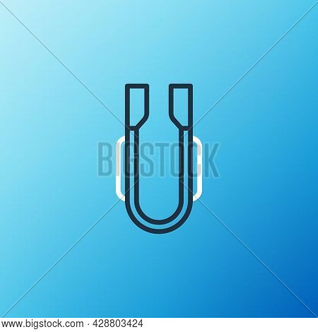 Line Meat Tongs Icon Isolated On Blue Background. Bbq Tongs Sign. Barbecue And Grill Tool. Colorful