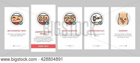 Dermatology Problem Onboarding Mobile App Page Screen Vector. Dermatology Disease Clinic Treatment A