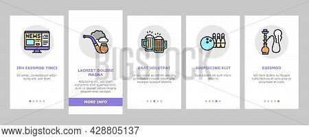 Mens Leisure Time Onboarding Mobile App Page Screen Vector. Video Games Phone App And Watch Movie, S