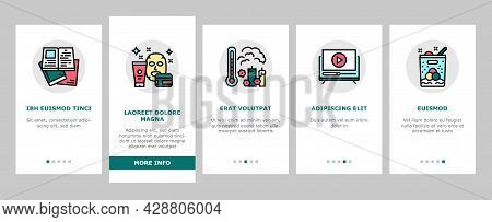 Womens Leisure Time Onboarding Mobile App Page Screen Vector. Karaoke And Yoga, Massage And Spa, Rea