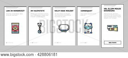 Baby Shop Selling Tool Onboarding Mobile App Page Screen Vector. Baby Diaper And Sterilizer Bottles