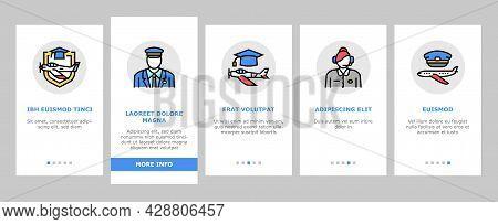 Flight School Educate Onboarding Mobile App Page Screen Vector. Flight Courses Education For Prepare