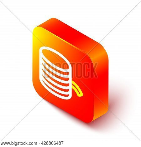 Isometric Line Plastic Filament For 3d Printing Icon Isolated On White Background. Orange Square But
