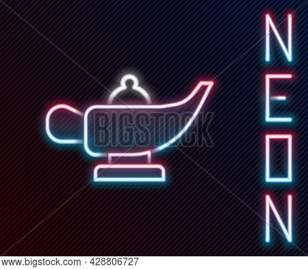 Glowing Neon Line Magic Lamp Or Aladdin Lamp Icon Isolated On Black Background. Spiritual Lamp For W