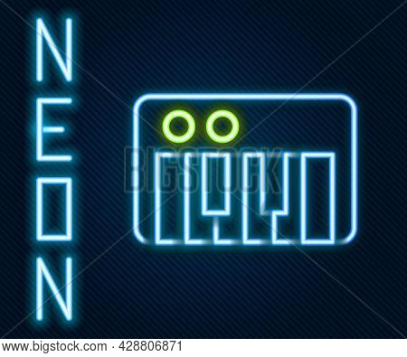 Glowing Neon Line Music Synthesizer Icon Isolated On Black Background. Electronic Piano. Colorful Ou