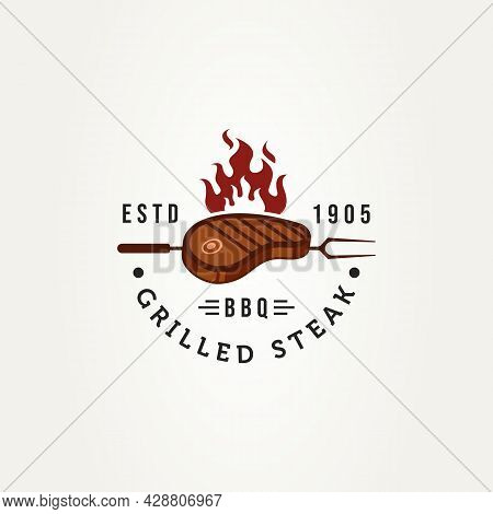 Grilled Beef Steak With Fork And Fire Flame Badge Logo Template Vector Illustration Design. Vintage