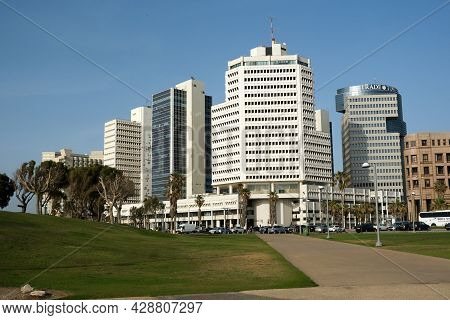 Tel-aviv, Israel - May 04, 2021: The Beit Textile Building And The Consular Section Of The Russian E
